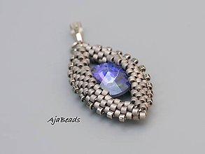 Náhrdelníky - Prívesok - Swarovski oko modré-šedé - 10862211_
