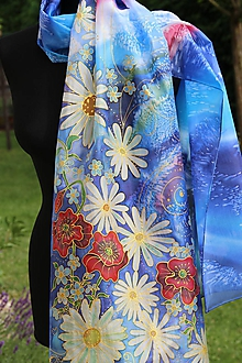 Šály - Hodvábny s lúčnymi kvetmi... - 10862249_