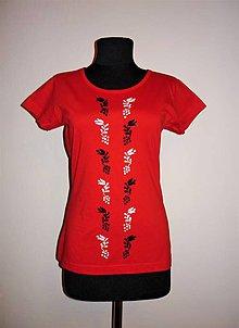 Tričká - Ručne vyšívané tričko - 10860947_