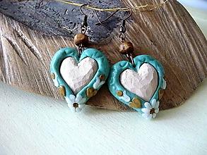 Náušnice - tyrkysové folk náušnice s lipovými  srdiečkami - 10862434_