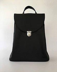 Batohy - Čierny kožený batoh - 10862045_