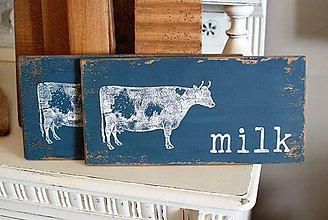 """Tabuľky - Modrá tabuľka """"milk"""" - 10861886_"""