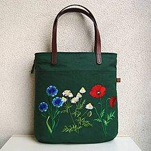Veľké tašky - Tmavozelená ľanová taška na veľ. A4 / lúčne kvety - 10862968_