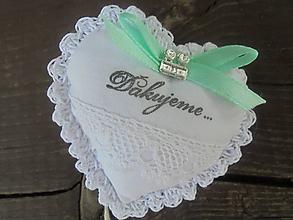 Dekorácie - Srdiečko do dlane-svadobné,darčekovo  zabalené (Biela) - 10862771_
