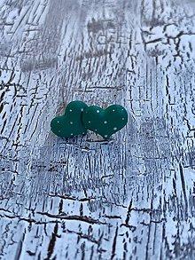 Náušnice - maľované bodkované srdiečka (PiDi smaragdovo zelené) - 10861225_