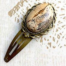 Ozdoby do vlasov - Vintage Picasso Jasper Hair Clip / Veľká vintage sponka s picasso jaspisom - 10863815_