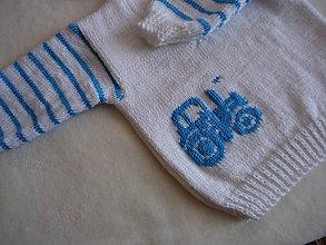 Detské súpravy - Detská súpravička biela - tyrkysový traktor - 10864341_