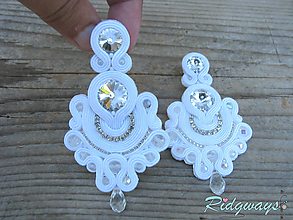 Náušnice - Color explosion...soutache (Just white) - 10864314_