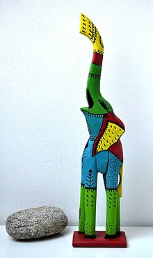 Socha - Drevená socha-Slon - 10864779_