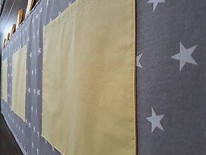 Úžitkový textil - Zástena za posteľ... (Šedá + žluté kapsy) - 10863889_