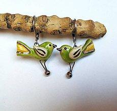 Náušnice - Keramické náušnice - vtáčiky zelené - 10864832_
