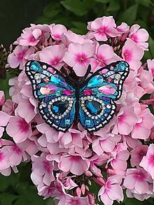 Odznaky/Brošne - Brošnička motýľ modro-tyrkysový :) - 10863638_