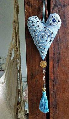 Dekorácie - Textilné srdce - 10863786_