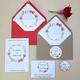 Papiernictvo - Červený venček - svadobné oznámenie - 10864543_