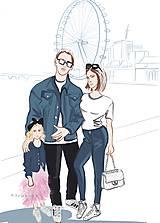 Kresby - Módna personalizovaná ilustrácia rodinka - 10863680_