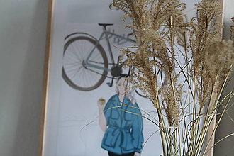 "Kresby - Módna ilustrácia ""Kávičkárka a bicykel"" - 10863682_"