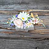 Ozdoby do vlasov - Hrebienok do vlasov - lúčny, pastelový - 10866965_