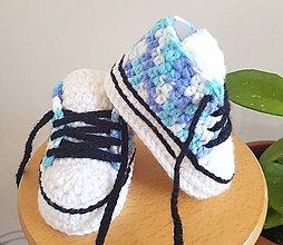 Topánočky - Modré melírované tenisky - 10865710_