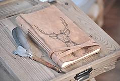 Papiernictvo - kožený denník DEER - 10866543_