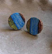 Náušnice - korkové napichovačky pestrofarebné - 10865967_