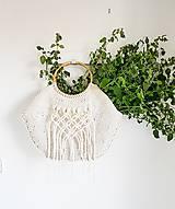 Kabelky - Pletená kabelka s rúčkami a makramé - prírodná - 10866567_
