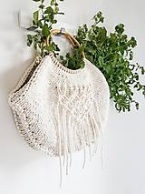 Kabelky - Pletená kabelka s rúčkami a makramé - prírodná - 10866568_