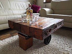 Nábytok - Konferenčný stolík v priemyselnom štýle - 10866605_