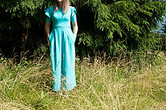 Šaty - Šaty na dojčenie - khaki s volánom dlhé - 10866234_