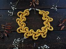 Náhrdelníky - Zamotaný límeček - žlutý - 10865407_