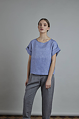 Topy - ľanový top MAYA modrý - 10866029_