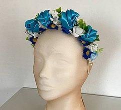 Ozdoby do vlasov - Čelenky so saténovými ružičkami (Modrá) - 10866355_