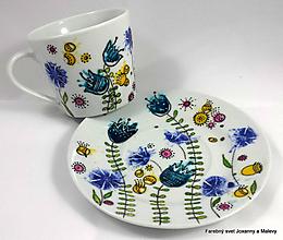 Nádoby - porcelánová šálka Modrý tulipán - 10866299_
