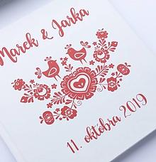 Papiernictvo - Červeno-biela svadobná kniha hostí Folk Birds - 10866017_