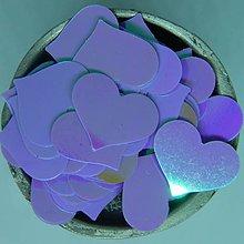 Iný materiál - Plastové srdiečka 15x12 mm  (Fialová AB) - 10866413_