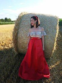 Šaty - Red skirt & beigie top - 10866995_