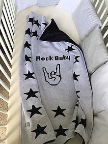 Textil - Detská deka, Rock Baby, OEKO-TEX®, čierno - biela - 10868573_