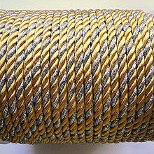 Galantéria - Šnúra točená 4mm-1m (žltá/strieborná) - 10867990_