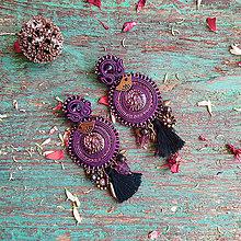 Náušnice - Purple Birds - sutaškové náušnice - 10867239_