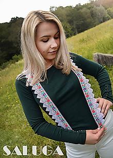 Doplnky - Folklórne traky - biele s krajkou - 10867648_