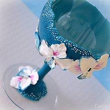 Nádoby - Pohár na víno - k jubileu s orchideami - 10867607_