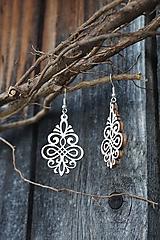 Náušnice - Ornament v bielej - 10868460_