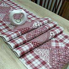 Úžitkový textil - KAMILA-bordó patchwork a káro na režnej-stredový obrus - 10868171_