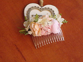 Ozdoby do vlasov - Marhuľkovo- ružový hrebienok - 10867381_