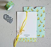 Papiernictvo - Letný set - pozdrav s obálkou BANÁNY - 10869964_