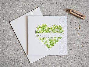 Papiernictvo - Svadobný pozdrav - srdiečko zo štvorlístkov II - 10869261_