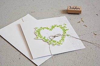 Papiernictvo - Svadobný pozdrav - srdiečko zo štvorlístkov I - 10869265_