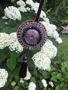 Dekorácie - ozdoba fialová vážka no.107 - 10870072_