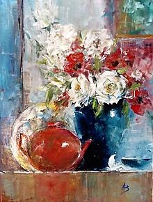 Obrazy - Zátišie s ružami_predané - 10870197_