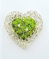 Kytice pre nevestu - Srdce na svadobné obrúčky - 10870339_