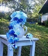 Dekorácie - svadobná kytica - Modrá romantická (umělá) - 10869388_